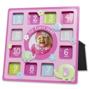 Baby Essentials Resin One Year Baby Frame Pink Elephants