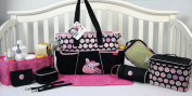 SoHo Pink Zebra nappy bag 9 pieces Set