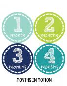 Months in Motion 113 Monthly Baby Stickers Baby Boy 12 Months Milestone Sticker
