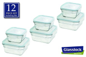 Snaplock Lid Tempered Glasslock Storage Square Containers 770ml & 350ml Anti Spill Microwave & Oven Safe