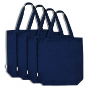 Augbunny 100% Cotton Canvas Shopping Tote Bag Grocery Bag 4-pack
