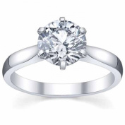 Platinium Ladies Solitaire Semi Mount Engagement Ring Can Hold a 1.00 CT Round Stone