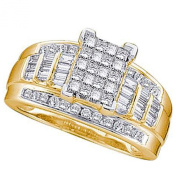 0.50 Carat (ctw) 10K Yellow Gold Princess, Baguette & Round Diamond Invisible Engagement Ring 1/2 CT