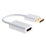 CableCreation Gold Plated (DP1.2) DisplayPort to HDMI Adapter, Support 4K X 2K & 3D Audio/Video Converter, DP1.2 Version is More Compatible, White Colour