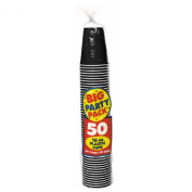 Amscan Big Party Pack 50 Count Plastic Cups, 470ml, Black
