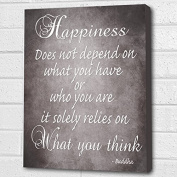 BUDDHA QUOTE HAPPINESS.. GREY BOX CANVAS PRINT A4