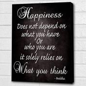 BUDDHA QUOTE HAPPINESS.. BLACK BOX CANVAS PRINT A4