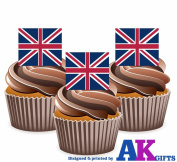 Union Jack Great Britain British Flag Cake Decorations - 12 Edible Wafer Cup Cake Toppers