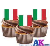 Italian Italy Italia Flag Cake Decorations - 12 Edible Wafer Cup Cake Toppers