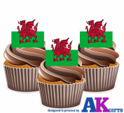 Wales Welsh Dragon Flag Cake Decorations - 12 Edible Wafer Cup Cake Toppers