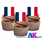 France French Flag Cake Decorations - 12 Edible Wafer Cup Cake Toppers