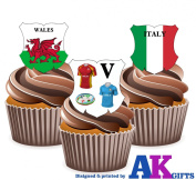 Six Nations Rugby Wales V Italy 12 Edible Cup Cake Wafer Toppers Decorations