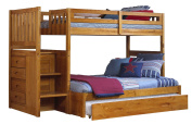 Discovery World Furniture Mission Twin over Full Staircase Bed with Twin Trundle, Honey