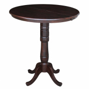 International Concepts 90cm Round Top Pedestal Table with 30cm Leaf, 110cm Bar Height, Rich Mocha