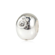White Crystal Paw Print - Sterling Silver Charm Bead - fits Pandora, Chamilia style Bracelets