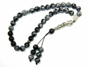 A1-0053 - Prayer Beads Worry Beads Tasbih Buddha / Snowflake Obsidian Gemstone Handmade by Jeannieparnell