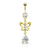 Gold plated belly button piercing with butterfly and droplet crystal