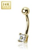 14 Kt. solid golden belly button piercing with sqaure crystal