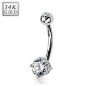 14 Kt. solid white gold belly button piercing with round CZ
