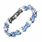 PAURO Jewellery Mens Stainless Steel Bike Chain Bracelet Blue and Silver