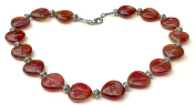 Faux Amber Hearts Fashion Costume 48 cm Bead Necklace.