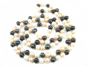 """Multicolour White Pink Black Freshwater Natural Cultured Pearl 120cm 47"""" Long Double Knotted Necklace Present"""