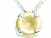 Silver 925 Necklace Bicolor Chiselled Satin Finish. Chain Double
