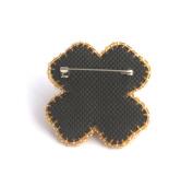 Black Velvet - Four Leaf Clover Brooch - Costume Jewellery