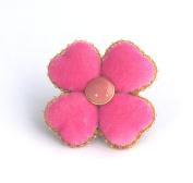Pink Velvet - Four Leaf Clover Brooch - Costume Jewellery