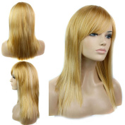 Free Cap Sexy Long Straight Cosplay Wig Synthetic Hair Blonde Wig Womens Full Party Wigs with Bangs