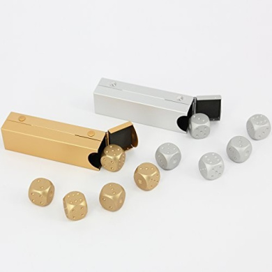 LZWIN Dice Collection 2 Set Gold and Silver Precision Aluminium Solid Game Dice with Portable Container