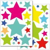 "Wandkings wall stickers ""Colourful Stars"" Sticker Set - 42 stickers on 2 A4 sheets"