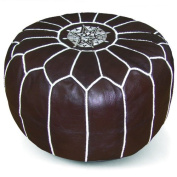 Ikram Design Moroccan Pouffe, Chocolate, 50cm by 33cm