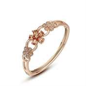 Genuine Rose Jewellery 18ct Real Rose Gold Plated Champagne Flower Bangle Bracelet with. crystals