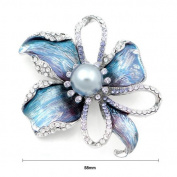 Glamorousky Flower Brooch with Silver. Element Crystal and Grey Fashion Pearl
