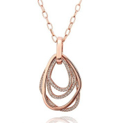 18ct Real Rose Gold Plated Raindrop Multi Shaped Pendant Adjustable Necklace With. Crystals