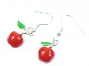 Miniblings Earrings Hanging Fruit Apple Fruit Apples Apple Fruit 3D Enamel Red