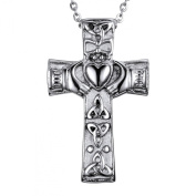 VALYRIA Cremation Jewellery Stainless Steel Claddagh Heart Cross Urn Pendant Necklace Memorial Ash Keepsake- Free Velvet Pouch & Funnel Fill Kit