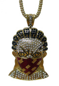 24k Gold Plated MASKED MAN Micropave Pendant & hiphop bling chain