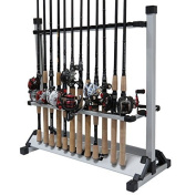 KastKing Rack 'em up Fishing Rods Holder - 2015 ICAST Best of Shw Award Winner - Portable Aluminium Fishing Rod Racks [Upgraded 2016 Model with New Packaging] - 24 Rod Rack for All Types of Fishing Rods and Combo/ 12 Rod Rack for Freshwater Rods (This  ..