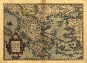 Reproduction Antique Map of Graecia, (Hellenic Republic (Hellas) Greece, by Abraham Ortelius A1 Size 78 x 57 cm
