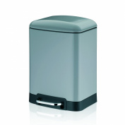 Kela 22997 Davino Square Bathroom Bin 6 L made from Powder-Coated stainless steel with Silent-Close System Light Grey