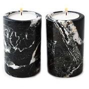 Set of 2 Black Marble Cylinder Tea Light Candle Holders