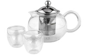 Andrew James Infusion Teapot Gift Set, 700ml Glass & Stainless Steel Pot With Loose Leaf Infuser + 2 x 50ml Tea Glasses - 2 Year Warranty
