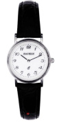 Ladies Sterling Silver Wristwatch with Standard Numerals - Black Leather Strap