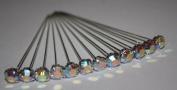 12 LUXURY 4mm x 4cm IRIDESCENT DIAMOND diamante pins WEDDING FLOWERS