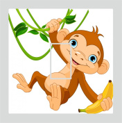 Sticar-it Ltd Cute Swinging Monkey with Banana Motif Light Switch Sticker vinyl cover skin decal For Children's Room