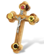 Wall Cross of Olive Wood with Crucifix Catholic from Jerusalem
