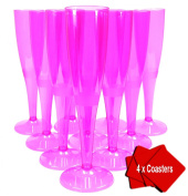 20 x High quality one piece disposable pink champagne flute / glass - 160 ml (6oz). Ideal for christenings, baby showers, hen do's, picnics, camping and glamping, festivals, outdoor pool, bbq, garden and special occasions. Offer Pack of 20 glasses with ..