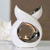 "aroma burner ""Lago"" ceramic, white / silver for tealights H. 20cm - B. 16, 5 cm exclusive by Casablanca"